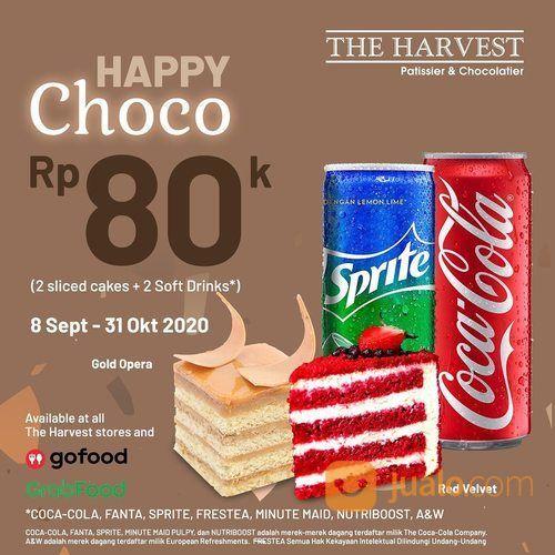 HARVEST CAKES Happy Cheese atau Happy Choco! Nikmati 2 sliced cake + 2 soft drink, hanya Rp80 ribu (28133363) di Kota Jakarta Selatan