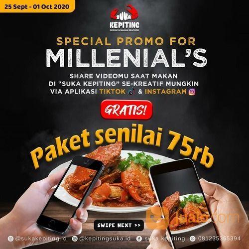 Suka Kepiting PROMO MILLENIAL Paket Kepiting senilai 75rb GRATISSSSSS S&K BERLAKU (28135411) di Kota Jakarta Selatan