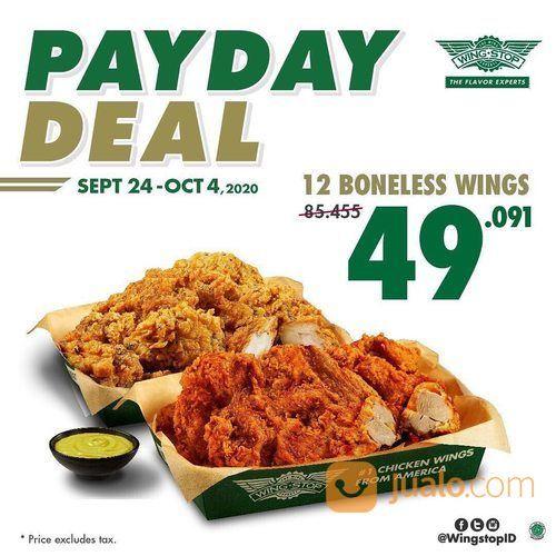 WINGSTOP Promo PAYDAY DEAL 12 Boneless Wings hanya Rp 49.091,- saja. (28139667) di Kota Jakarta Selatan