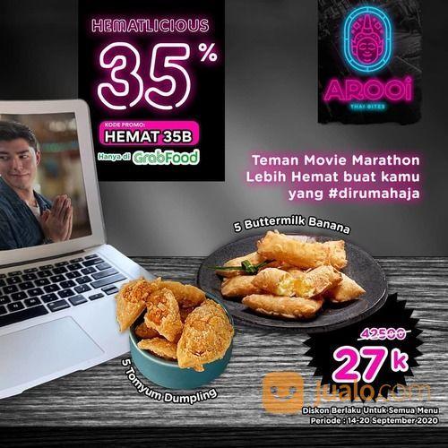 """AROOIBITES Diskon 35% HEMATLICIOUS dari grabfood dengan kode promo """"HEMAT35B"""" (28163671) di Kota Jakarta Selatan"""