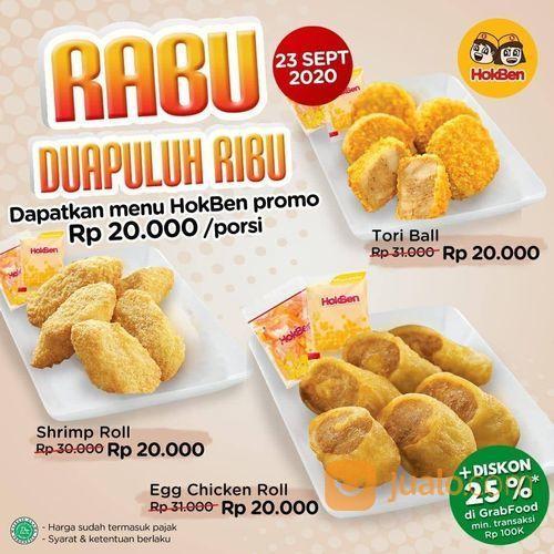 HokBen RABU 20RIBU! Mau Egg Chicken Roll, Shrimp Roll atau Tori Ball, hanya Rp 20.000,- saja lho (28164187) di Kota Jakarta Selatan