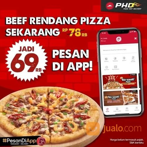 PHD promo Beef Rendang harga spesial jadi 69ribu ini cuma bisa kamu dapetin di aplikasi Pizza Hut ! (28165235) di Kota Jakarta Selatan