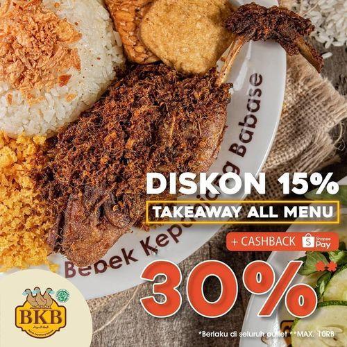 Bebek BKB Diskon 15% Takeaway All Menu (28170107) di Kota Jakarta Selatan