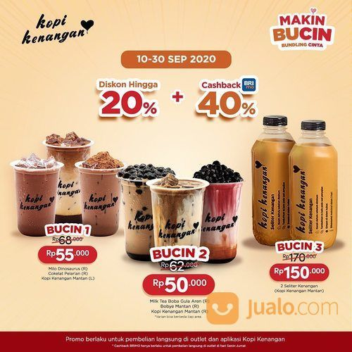 Kopi Kenangan Diskon 20% + additional cashback 40% maks. 15rb dari BRIMo! (28183559) di Kota Jakarta Selatan