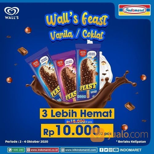 INDOMARET Wall's Feast Vanilla / Coklat 3 Lebih Hemat Rp 10.000 (28374327) di Kota Jakarta Selatan