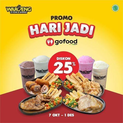 Waroeng Steak & Shake Promo Hari Jadi Diskon 25% Off (28378927) di Kota Jakarta Selatan