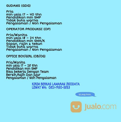 Lowongan Staff Admin Gudang Lulusan Sma Smk Daerah Jakarta 2020 Jakarta Barat Jualo