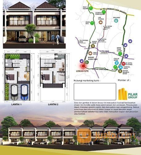 Rumah Cluster 2 Lt Dkt Mesjid Kubah Mas 800 Jt An Di Meruyung Depok (28506199) di Kota Depok