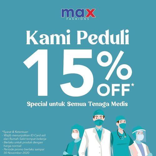 Max Fashion Diskon 15% Untuk Tenaga Medis (28525747) di Kota Jakarta Selatan