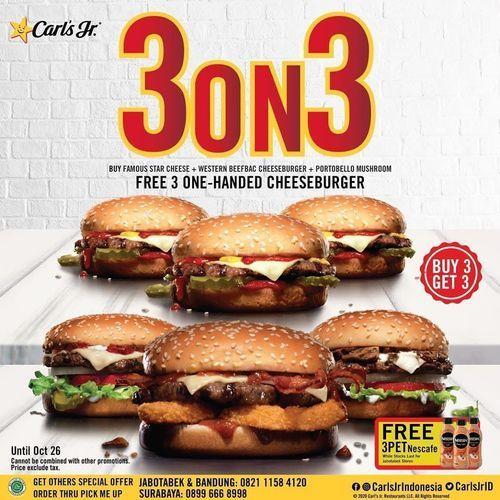 Carl's Jr 3on3 Beli 1 Gratis 3 (28673367) di Kota Jakarta Selatan