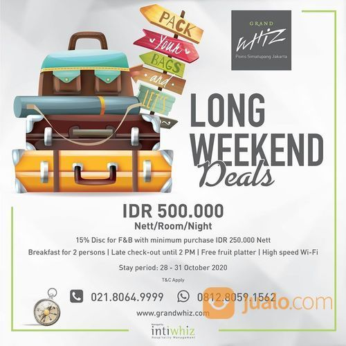Grand Whiz Poins Long Week End Deals IDR 500.000 net / oo / ight inclusive Breakfast for 2 persons (28698595) di Kota Jakarta Selatan