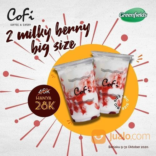 CoFi Cozy Promo Milky Berry Big Size semua varian! Hanya 28K untuk 2 gelas Big Size looh, yuk pesan (28699675) di Kota Jakarta Selatan