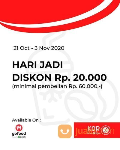 KOR Temu & Kopi Promo Hari Jadi Diskon Rp 20.000 dan Promo menarik lainnya! (28703627) di Kota Jakarta Selatan