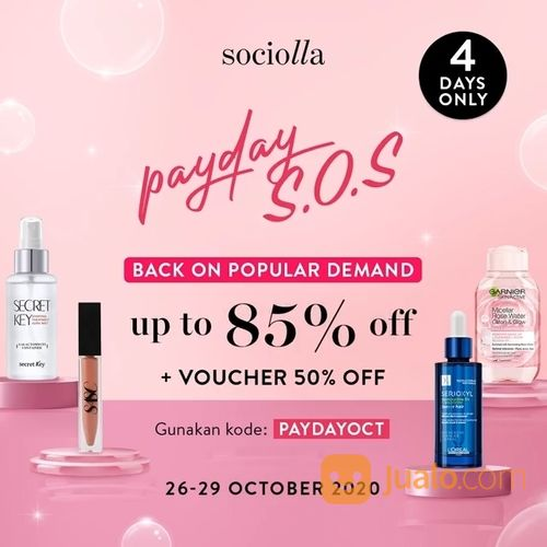 Sociolla Payday S.O.S up to 85% Off + Voucher 50% Off (28745447) di Kota Jakarta Selatan