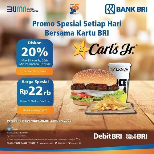 Carls Jr Promo Bank BRI 20% Off (29018649) di Kota Jakarta Selatan