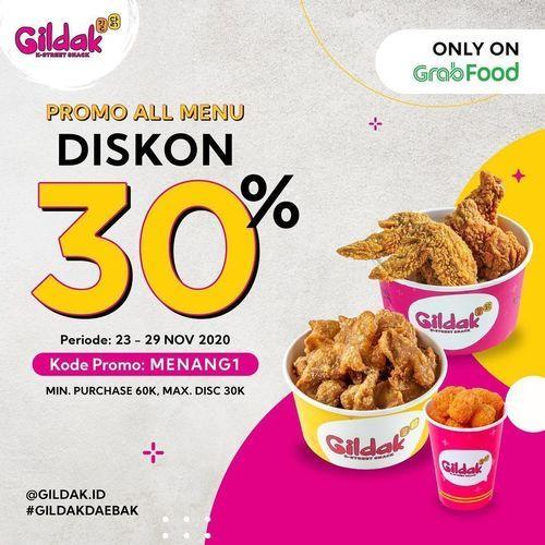 Gildak Diskon 30% Off Grabfood (29019367) di Kota Jakarta Selatan