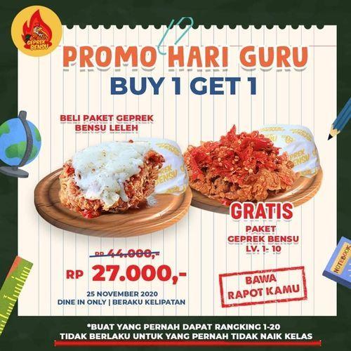 Geprek Bensu Promo Hari Guru Buy 1 Get 1 (29034941) di Kota Jakarta Selatan