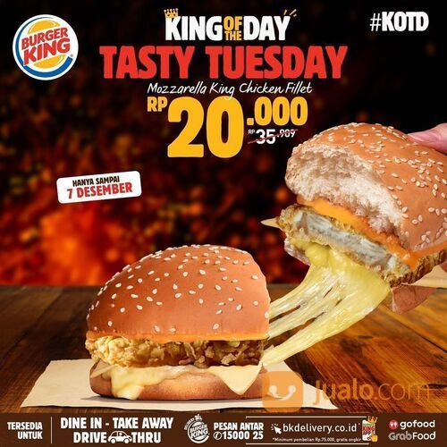 Burger King NiQmat Mozzarella King Chicken Fillet cuma 20RIBU di menu #KOTW Tasty Tuesday~ (29079111) di Kota Jakarta Selatan