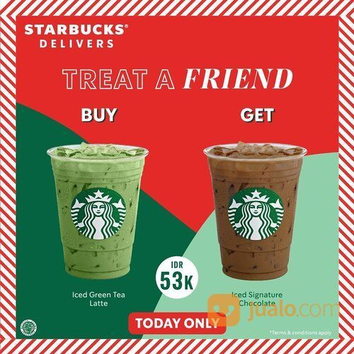 Starbucks Beli 1 Gratis 1* untuk minuman tertentu khusus pembelian melalui rekan Starbucks Delivers (29130296) di Kota Jakarta Selatan