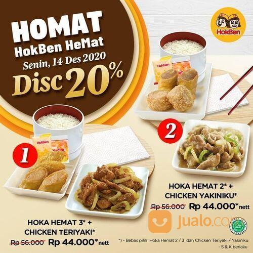 HokBen Promo Hoka Hemat plus Chicken Teriyaki/Yakiniku disc 20% jadi Rp 44.000 nett* (29135768) di Kota Jakarta Selatan