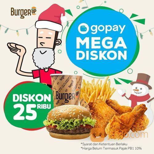BurgerUP Promo Gopay Mega Diskon Diskon 25ribu untuk setiap pemesanan Burger Up melalui GoFood (29142926) di Kota Jakarta Selatan