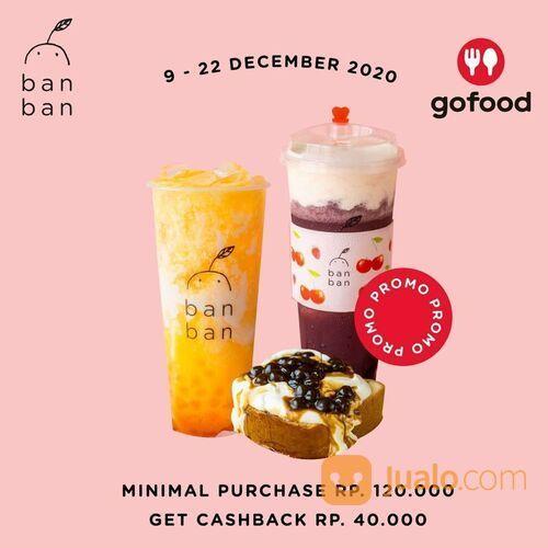 BAN BAN CHEESE TEA CASHBACK Rp. 40.000 dengan Minimal Pembelian Rp. 120.000 diaplikasi Go-Food (29162513) di Kota Jakarta Selatan
