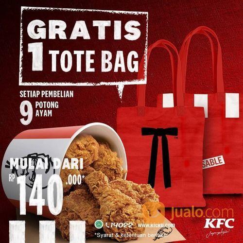 KFC Pembelian 9 Potong ayam KFC seharga Rp 140.000 aja, KFC Lovers bisa dapetin GRATIS 1 Totebag (29162579) di Kota Jakarta Selatan
