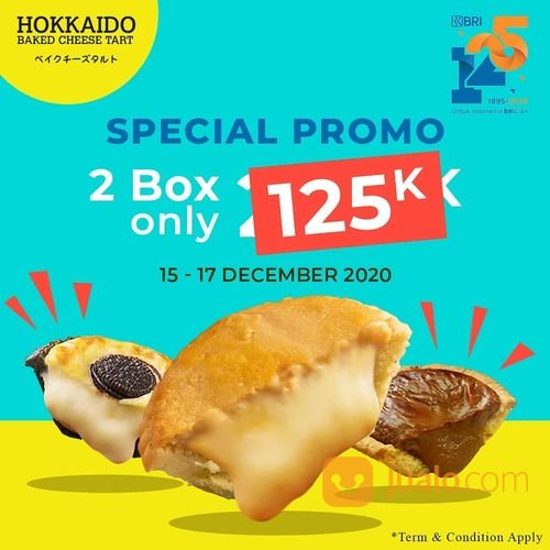 HOKKAIDO PROMO DENGAN DEBIT BRI Dapatkan 2 Box Hokkaido Baked Cheese Tart seharga 125k (29164551) di Kota Jakarta Selatan
