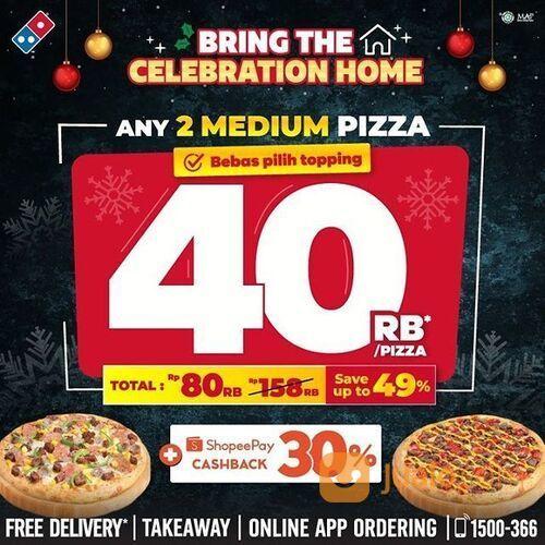 Domino's Pizza BEBAS pilih topping!! 2 Medium HT CUMA 40rb/pizza. HEMAT s/d 49% (29168540) di Kota Jakarta Selatan