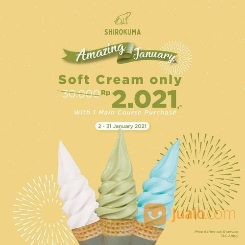 SHIROKUMA AMAZING JANUARY 2021 ! Enjoy our SOFT CREAM only Rp. 2.021,- * with 1 main course purchase (29214798) di Kota Jakarta Selatan