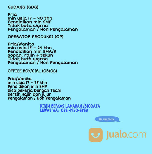 Loker Terbaru Sma Smk Jabotabek Jakarta Selatan Jualo