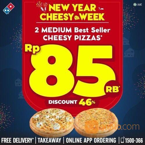 DOMINO's Pizza Cheesy Week - 2 Best Seller Medium 'Cheesy' Pizza CUMA 85rb (29220404) di Kota Jakarta Selatan