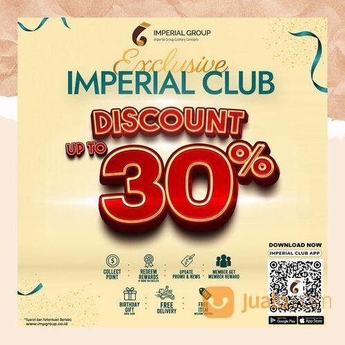 Imperial Kitchen Promo khusus untuk member Imperial Club dapatkan diskon hingga 30% untuk semua menu (29242249) di Kota Jakarta Selatan