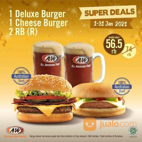 A&W Promo 1 Deluxe Burger 1 Cheese Burger 2 RB (29284936) di Kota Jakarta Selatan