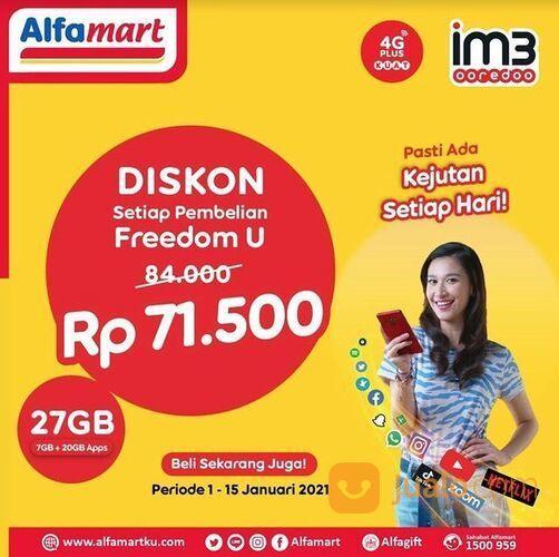 Alfamart Dapatkan Harga Spesial Hanya Rp 71.500 untuk pembelian Paket Freedom U 27GB IM3 ooredoo* (29288279) di Kota Jakarta Selatan