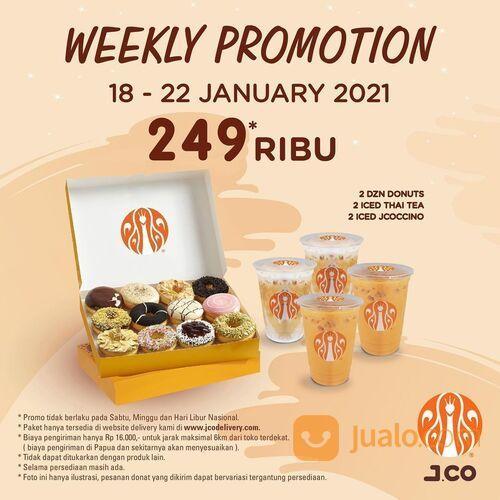 JCO 2 lusin donuts + 2 Iced Thai Tea + 2 Iced JCOCCINO dengan hanya 249 Ribu* (29381654) di Kota Jakarta Selatan