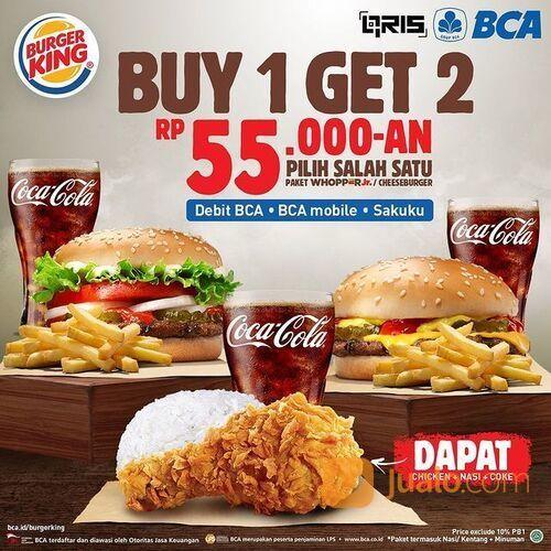 BurgerKing Buy 1 Get 2 promo dari BCA beli Whopper Jr paket atau CheeseBurger paket FREE 1 (29385532) di Kota Jakarta Selatan