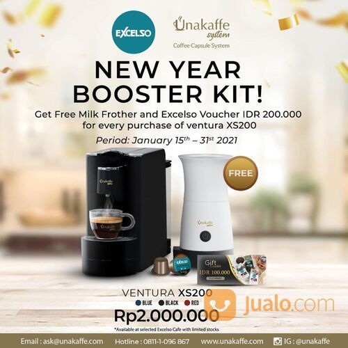 Excelso GRATIS Milk Frother & Excelso Voucher 200K, untuk setiap pembelian Unakaffe Ventura XS200 (29405134) di Kota Jakarta Selatan
