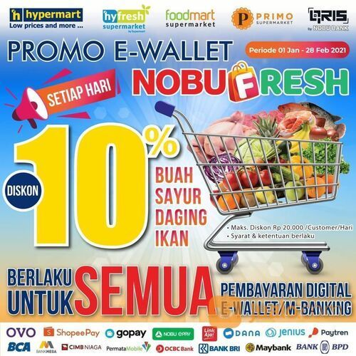 Hypermart Promo Spesial E-Wallet Nobu Fresh di Hypermart (29420436) di Kota Jakarta Selatan