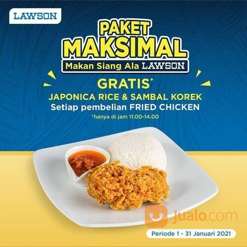 """Lawson """"Paket Maksimal"""" pembelian 1pc Fried Chicken di jam 11.00 s/d 14.00 Gratis Japonica Rice dan (29420771) di Kota Jakarta Selatan"""