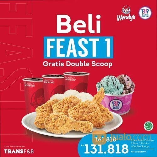 Wendy's x Baskin Robbins! Dengan membeli paket Feast 1, kamu akan mendapatkan Double Scoop Baskin Ro (29422826) di Kota Jakarta Selatan