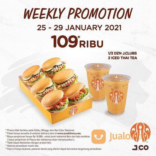 JCO Donuts Weekly Promotion 1/2 lusin JCLUBS + 2 Iced Thai Tea dengan hanya 109Ribu (29440288) di Kota Jakarta Selatan