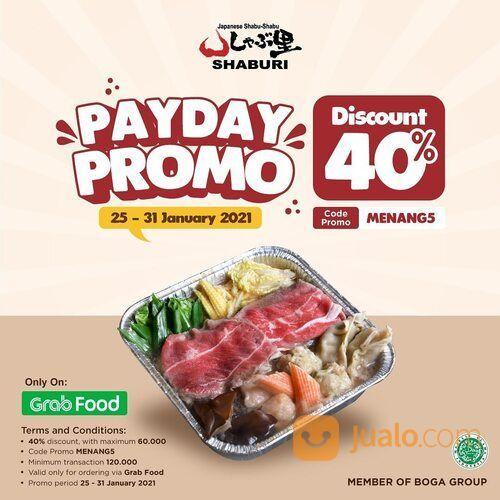 SHABURI Payday promo alert! Order via Grabfood and Get 40% discount by using promo code MENANG5 (29440814) di Kota Jakarta Selatan