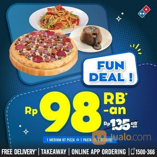Domino's Pizza FUN DEAL cuma 98rb-an untuk 1 medium Pizza, 1 Choco Lava, 1 Pasta / 5 Pcs Chicken WIn (29441878) di Kota Jakarta Selatan