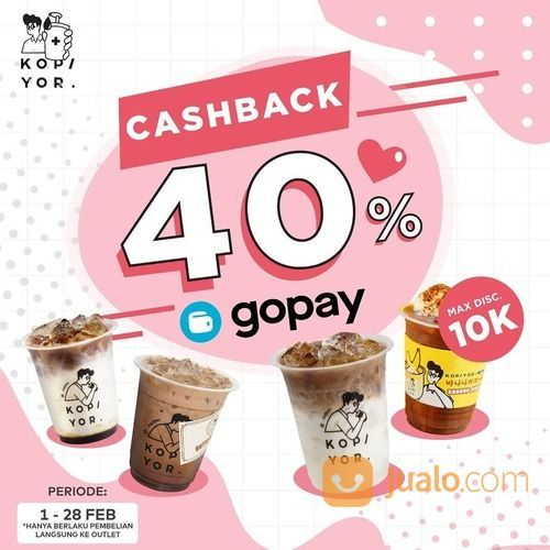 KOPI YOR CASHBACK 40% untuk setiap pembayaran menggunakan GO-PAY (29465593) di Kota Jakarta Selatan