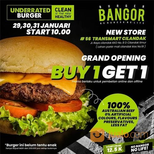 Burger Bangor CILANDAK TRANSMART Promo BUY ONE GET ONE melalui pembelian online maupun offline (29469907) di Kota Jakarta Selatan