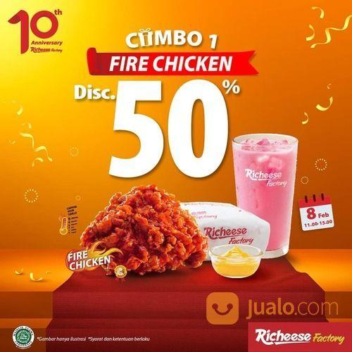 RICHEESE FACTORY ANNIVERSARY PROMO - COMBO 1 FIRE CHICKEN DISKON 50% (29514304) di Kota Jakarta Selatan