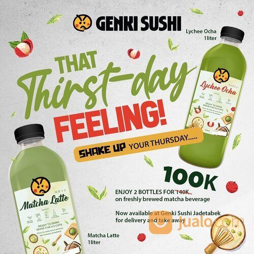 GENKI SUSHI 100k FOR 2 BIG BOTTLES? SO MATCHAAA HAPPINESS BUNDLE ONLY FOR TODAY! (29514490) di Kota Jakarta Selatan