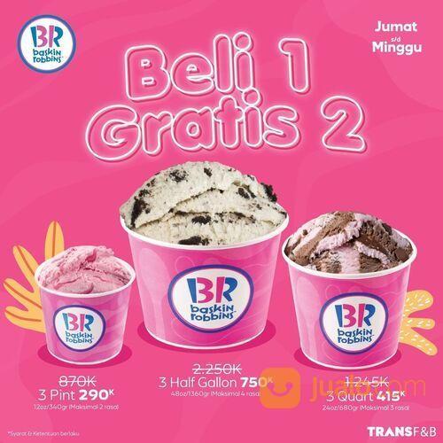 Baskin Robbins Beli 1 Gratis 2 terakhir besok! Berlaku di seluruh store Baskin Robbins (29516510) di Kota Jakarta Selatan