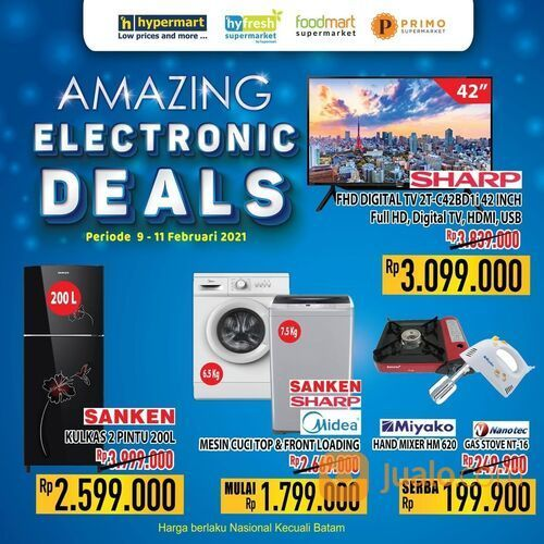 Hypermart promo harga termurah untuk barang Elektonik dari SHARP, SANKEN, MIDEA, MIYAKO, dan NANOTEC (29517391) di Kota Jakarta Selatan